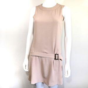 ZARA Dusty Pink Mod Sleeveless Belt Buckle Dress